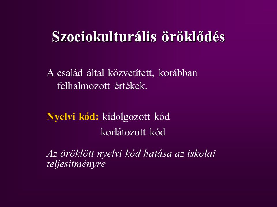 Szociokulturális öröklődés
