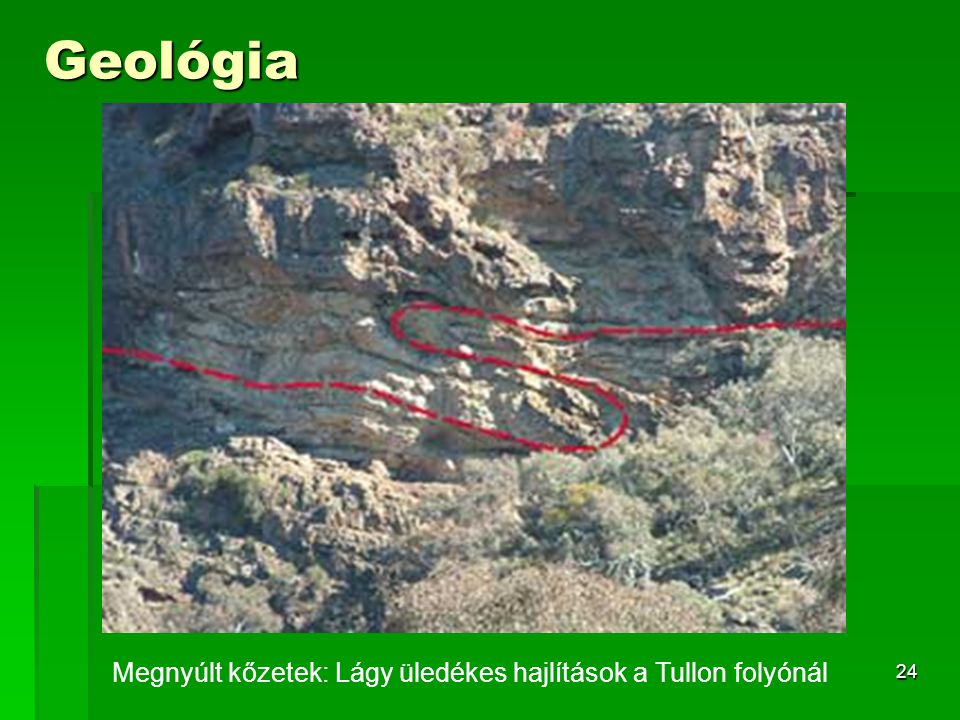 Megnyúlt kőzetek: Lágy üledékes hajlítások a Tullon folyónál