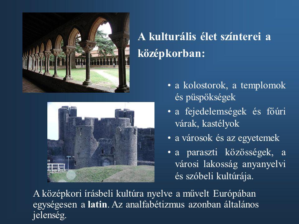 A kulturális élet színterei a középkorban: