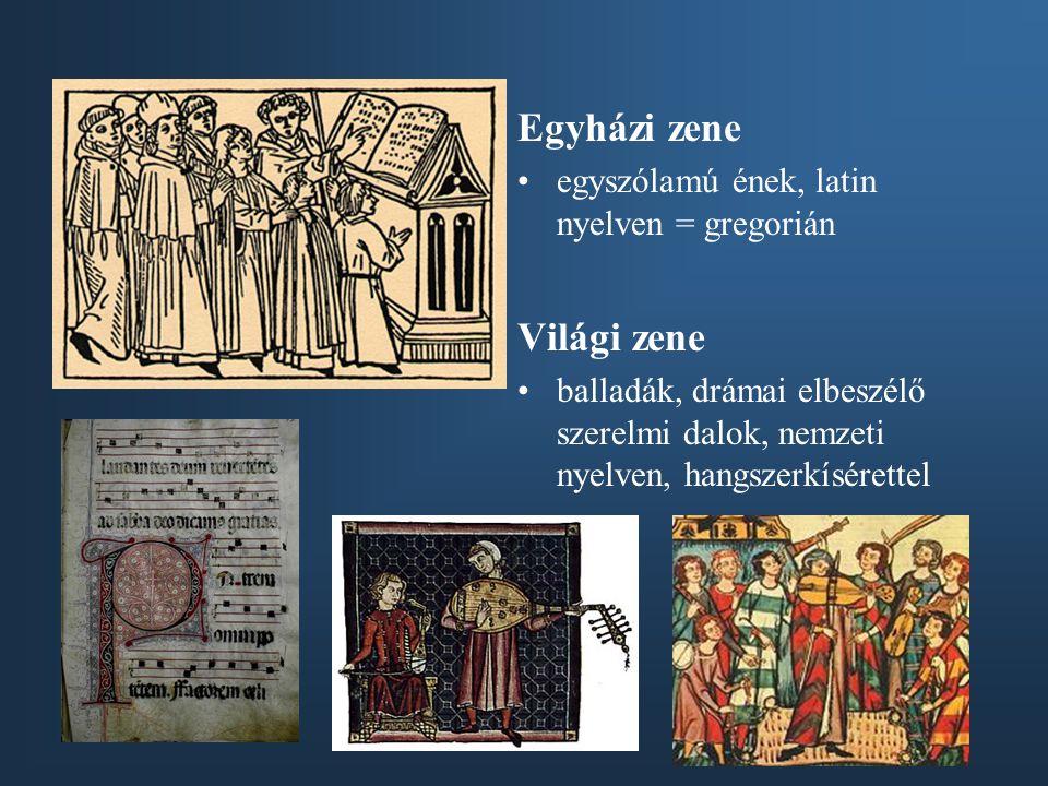 Egyházi zene Világi zene egyszólamú ének, latin nyelven = gregorián