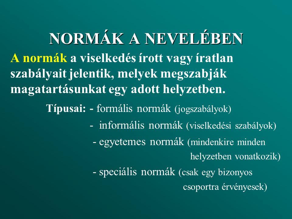 NORMÁK A NEVELÉBEN A normák a viselkedés írott vagy íratlan