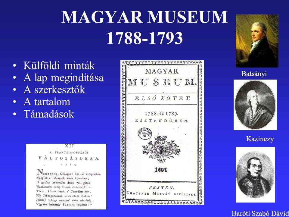 MAGYAR MUSEUM 1788-1793 Külföldi minták A lap megindítása