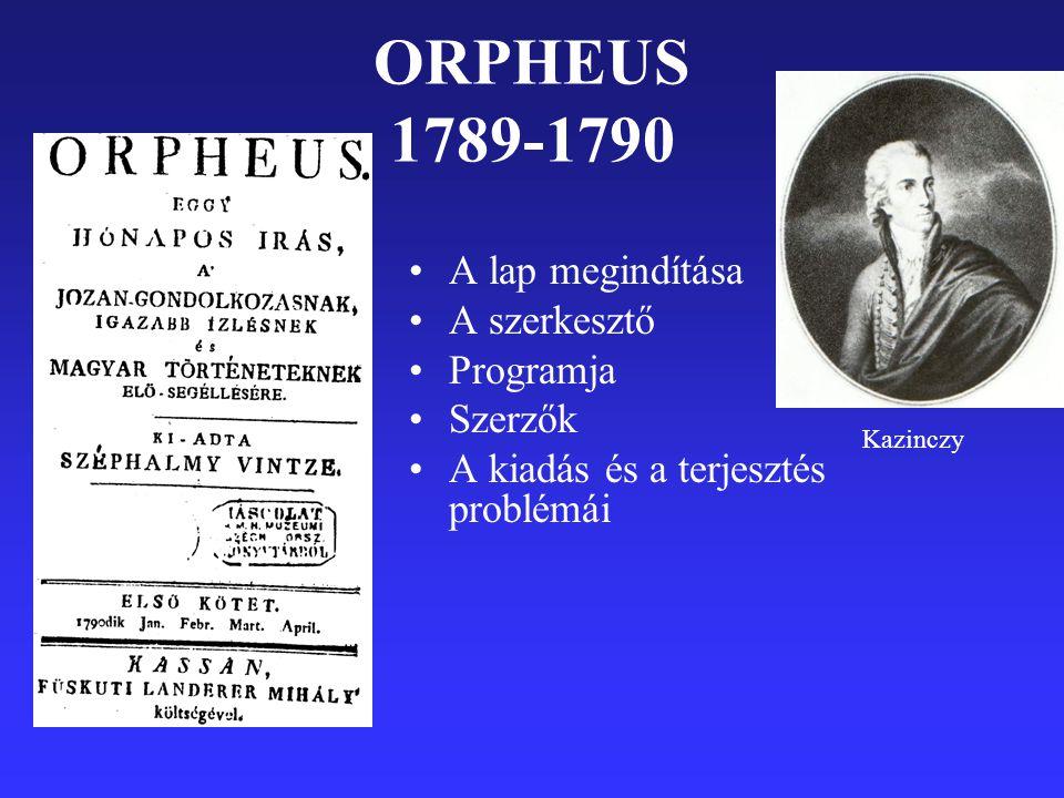 ORPHEUS 1789-1790 A lap megindítása A szerkesztő Programja Szerzők