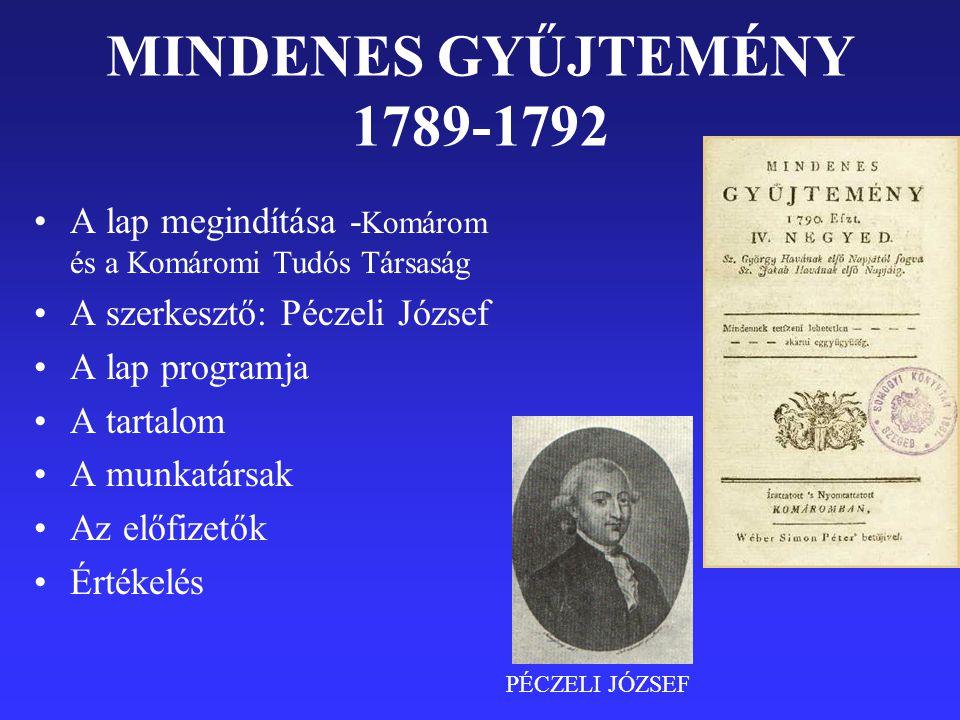 MINDENES GYŰJTEMÉNY 1789-1792 A lap megindítása -Komárom és a Komáromi Tudós Társaság. A szerkesztő: Péczeli József.