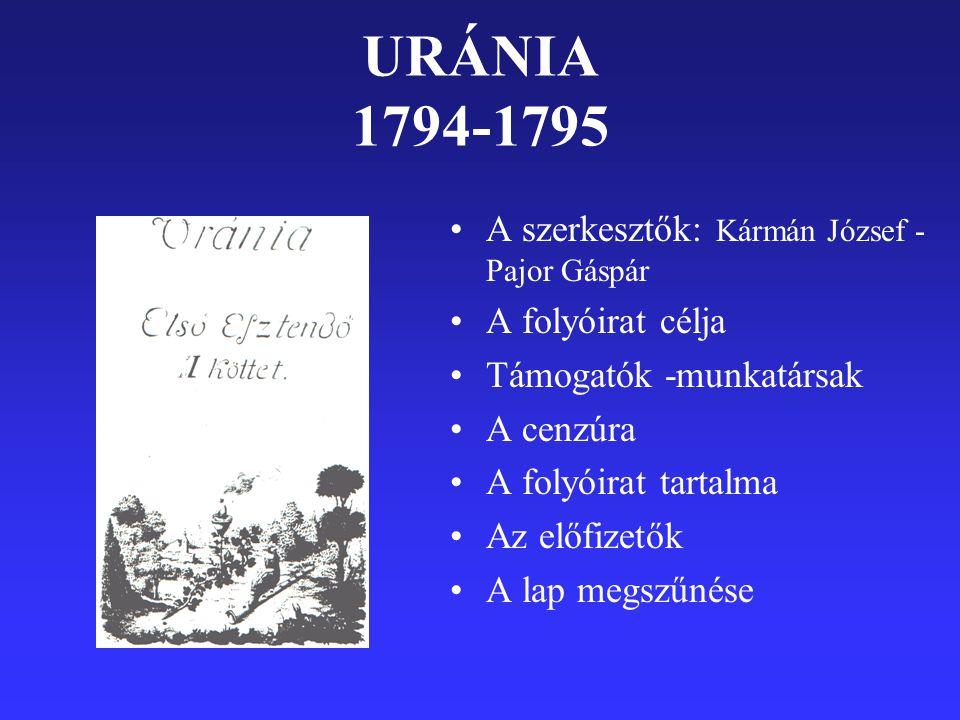 URÁNIA 1794-1795 A szerkesztők: Kármán József -Pajor Gáspár