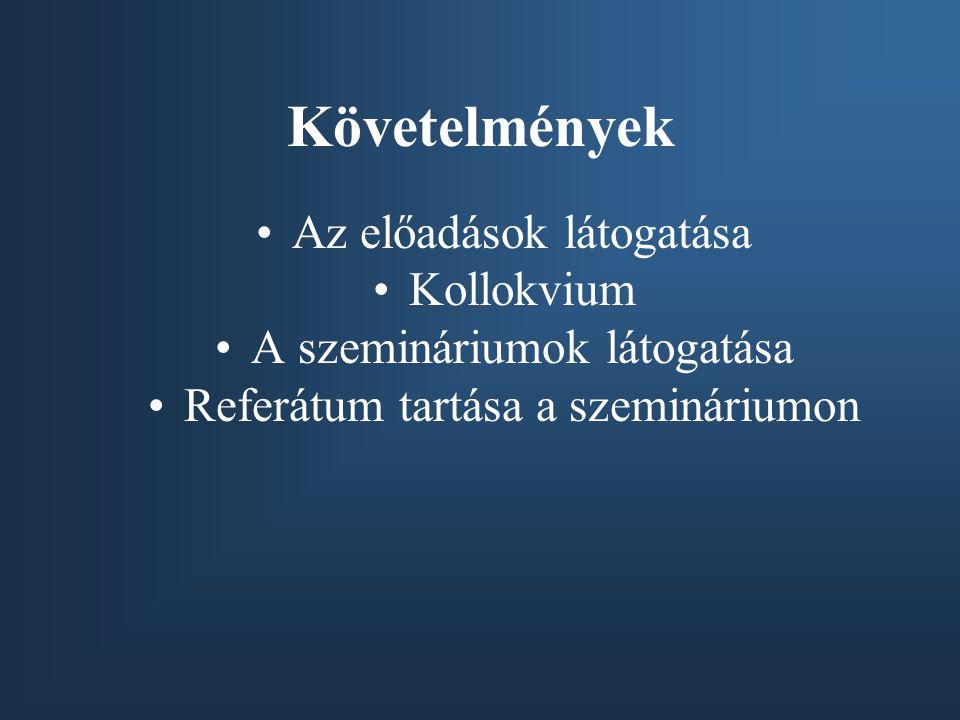 Követelmények Az előadások látogatása Kollokvium