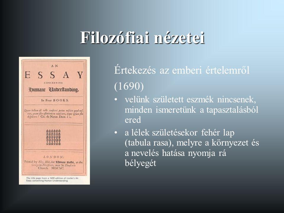 Filozófiai nézetei Értekezés az emberi értelemről (1690)