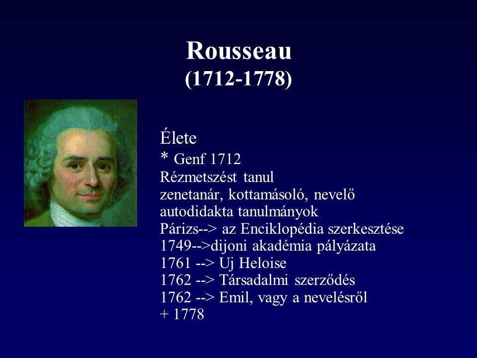 Rousseau (1712-1778) Élete * Genf 1712 Rézmetszést tanul