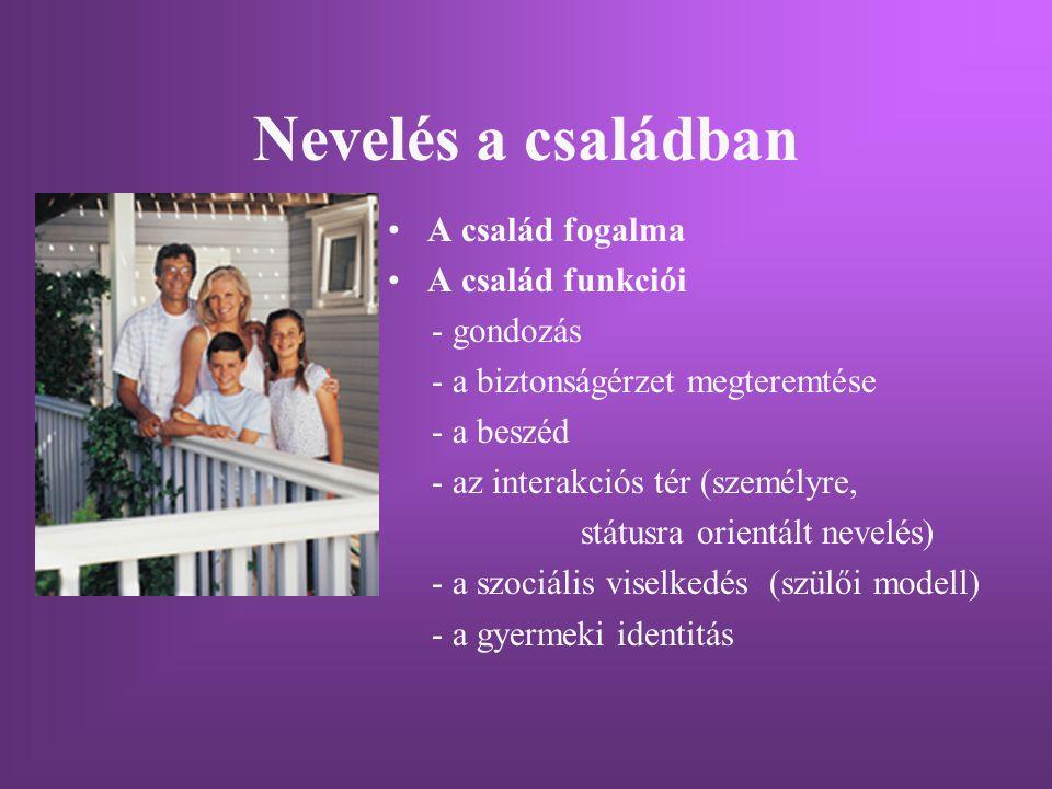 Nevelés a családban A család fogalma A család funkciói - gondozás