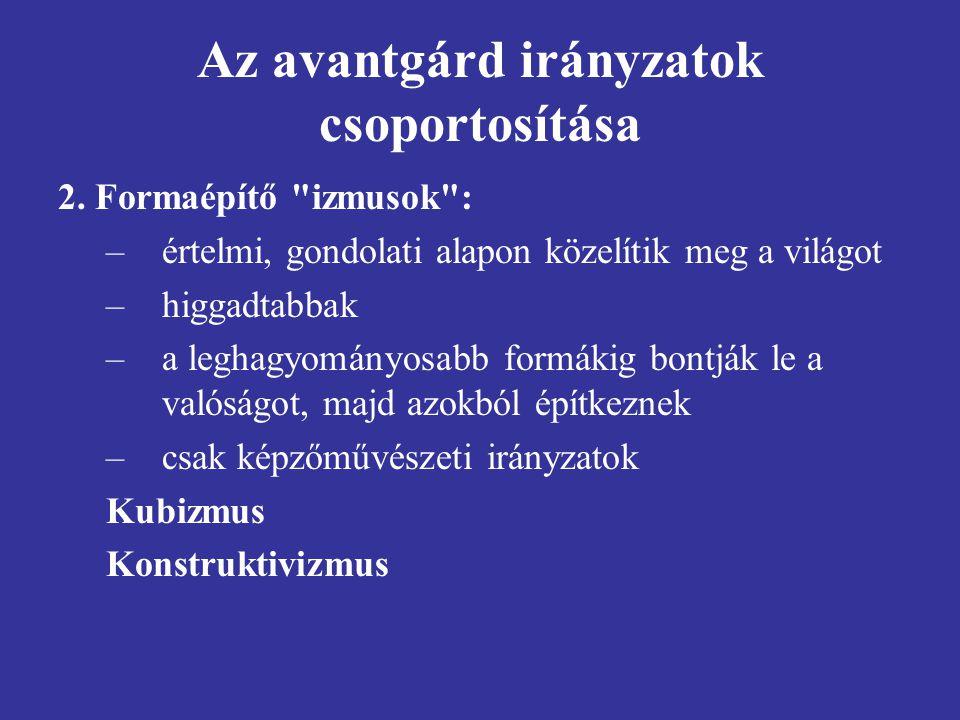 Az avantgárd irányzatok csoportosítása