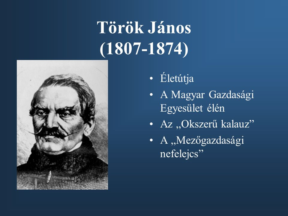 Török János (1807-1874) Életútja A Magyar Gazdasági Egyesület élén