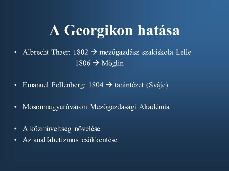 A Georgikon hatása Albrecht Thaer: 1802  mezőgazdász szakiskola Lelle