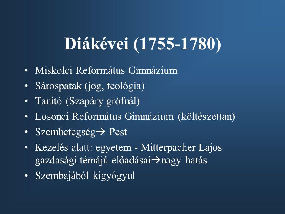 Diákévei (1755-1780) Miskolci Református Gimnázium