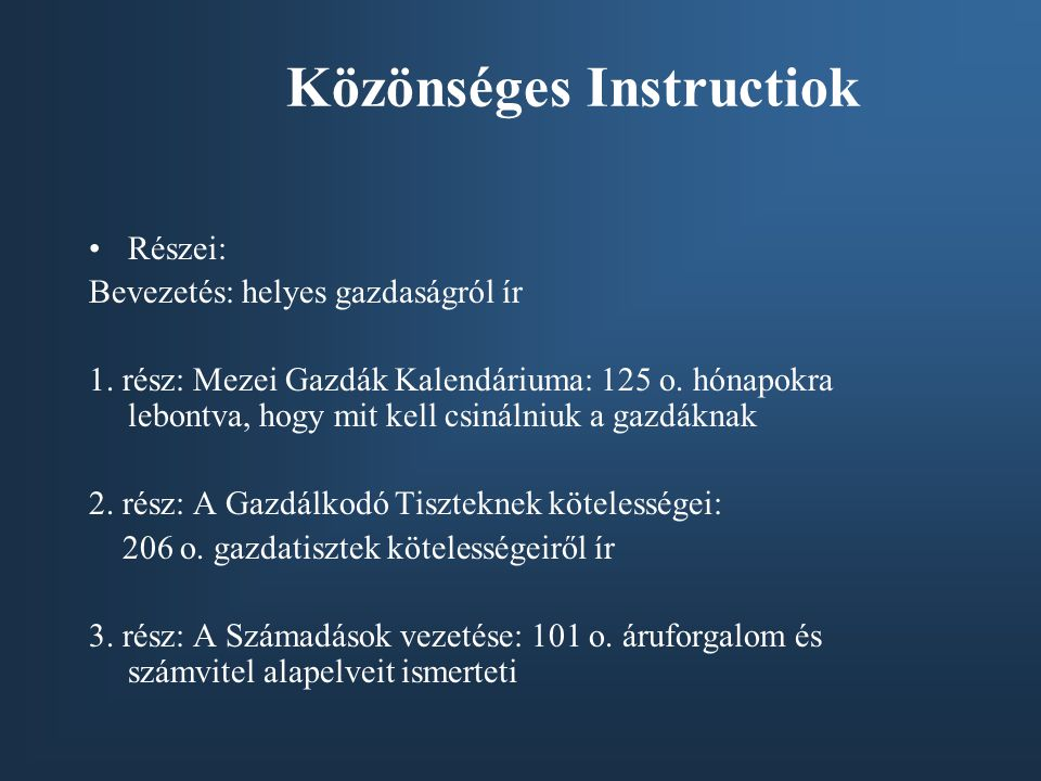 Közönséges Instructiok