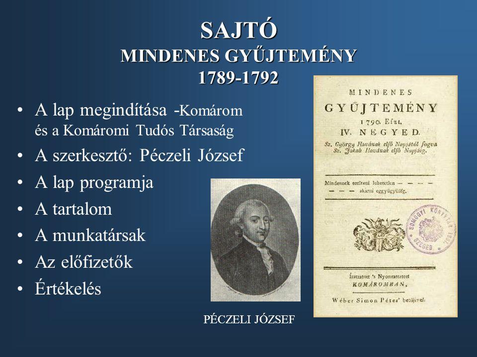 SAJTÓ MINDENES GYŰJTEMÉNY 1789-1792