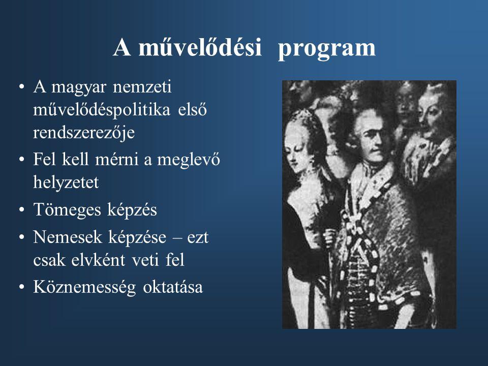 A művelődési program A magyar nemzeti művelődéspolitika első rendszerezője. Fel kell mérni a meglevő helyzetet.