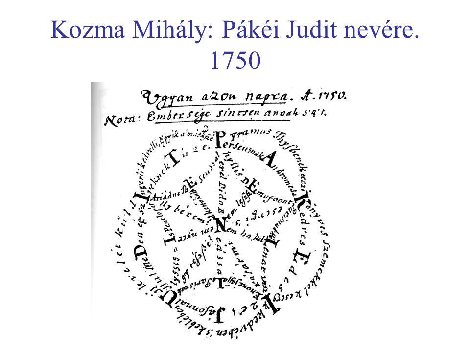 Kozma Mihály: Pákéi Judit nevére. 1750