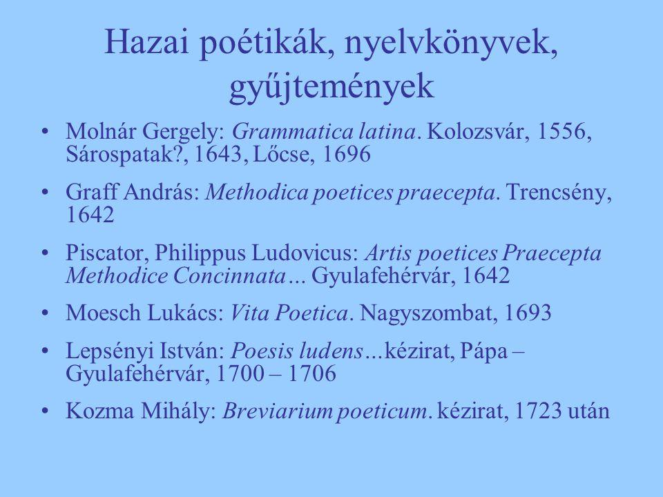 Hazai poétikák, nyelvkönyvek, gyűjtemények