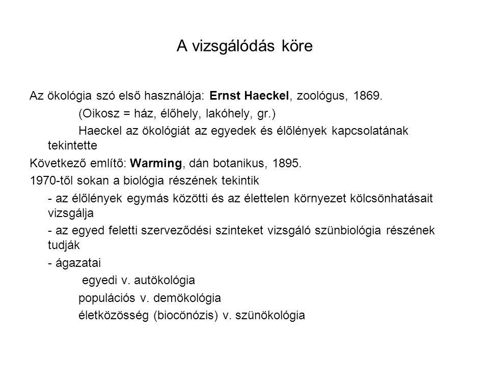 A vizsgálódás köre Az ökológia szó első használója: Ernst Haeckel, zoológus, 1869. (Oikosz = ház, élőhely, lakóhely, gr.)