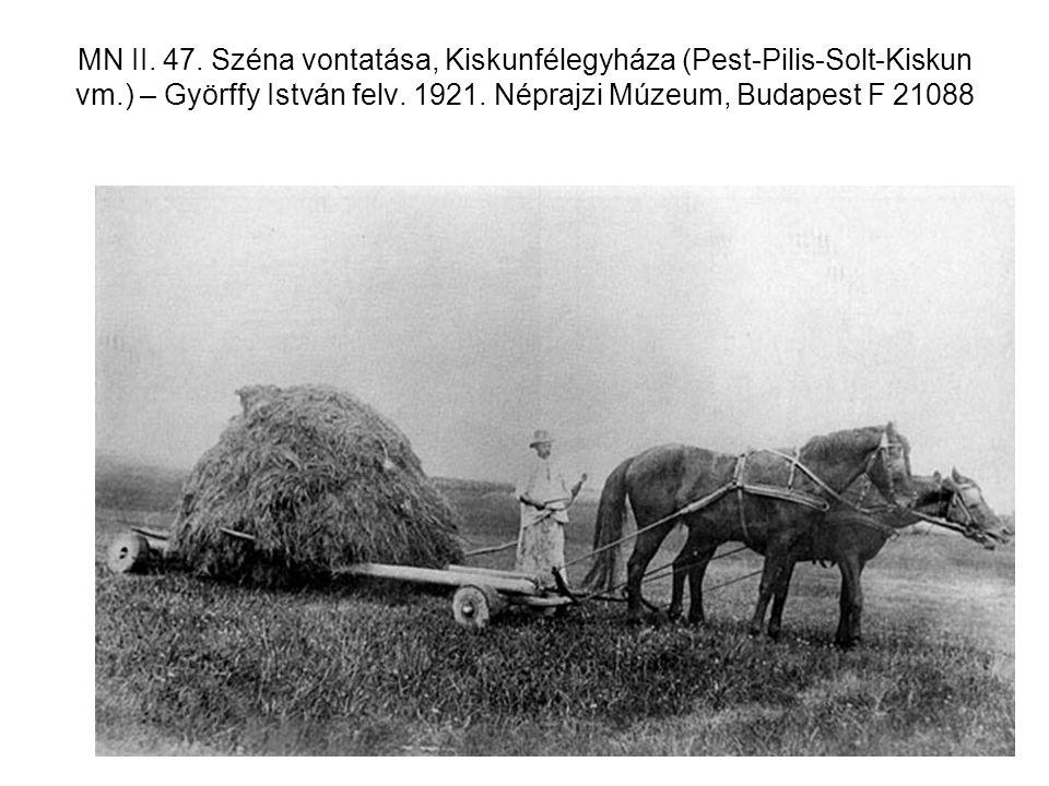 MN II. 47. Széna vontatása, Kiskunfélegyháza (Pest-Pilis-Solt-Kiskun vm.) – Györffy István felv.
