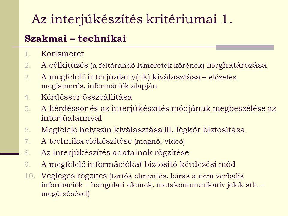 Az interjúkészítés kritériumai 1.
