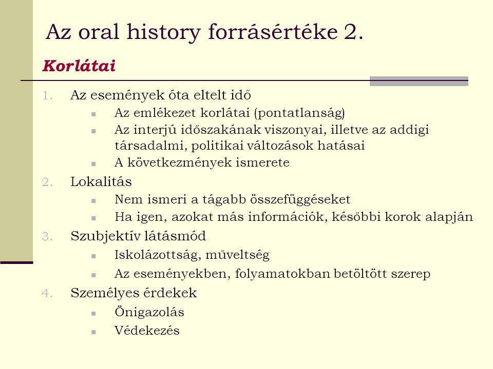Az oral history forrásértéke 2.