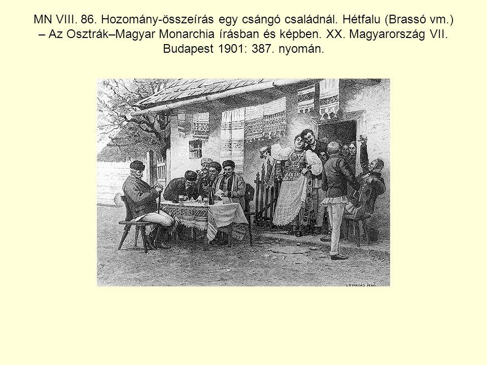 MN VIII. 86. Hozomány-összeírás egy csángó családnál