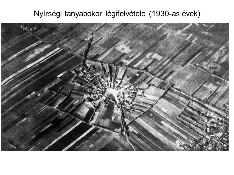 Nyírségi tanyabokor légifelvétele (1930-as évek)