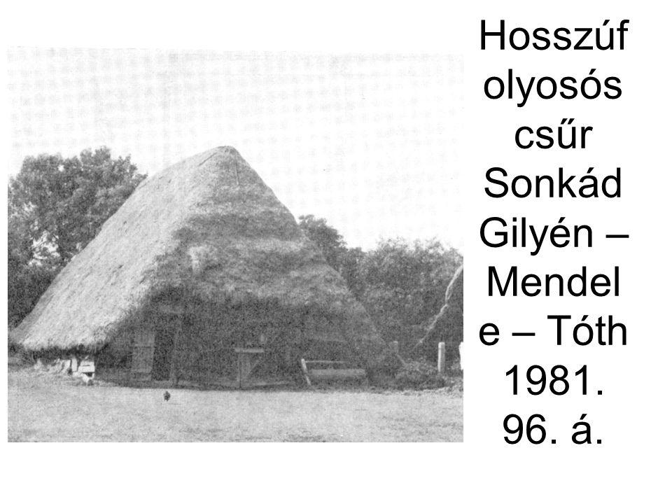 Hosszúfolyosós csűr Sonkád Gilyén – Mendele – Tóth 1981. 96. á.