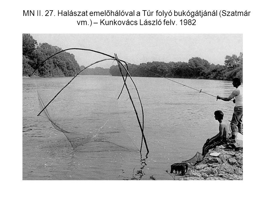 MN II. 27. Halászat emelőhálóval a Túr folyó bukógátjánál (Szatmár vm
