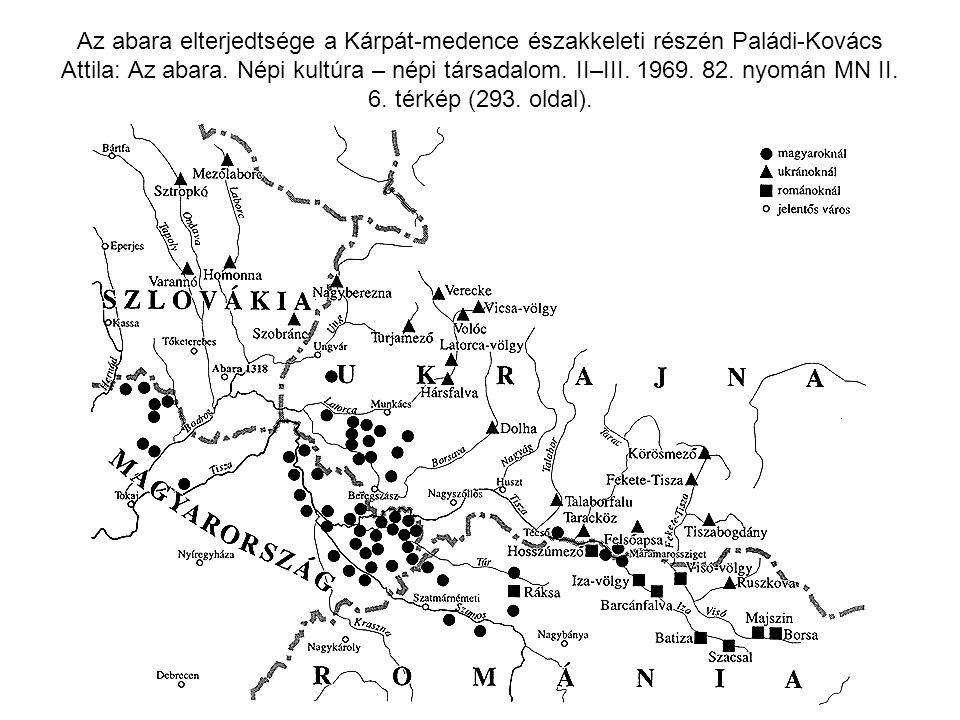 Az abara elterjedtsége a Kárpát-medence északkeleti részén Paládi-Kovács Attila: Az abara.