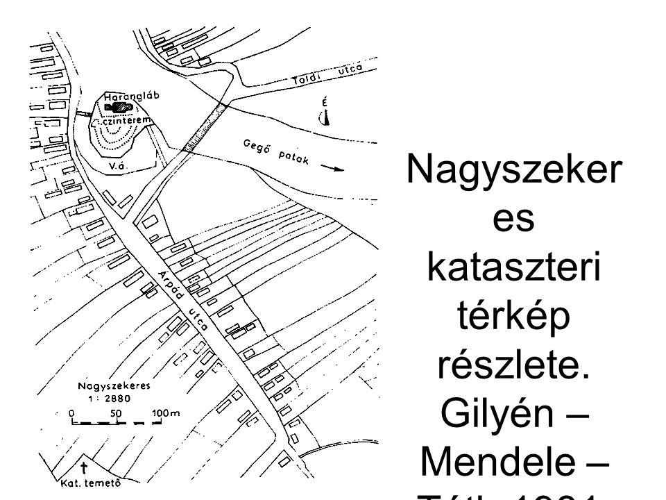 Nagyszekeres kataszteri térkép részlete. Gilyén – Mendele – Tóth 1981