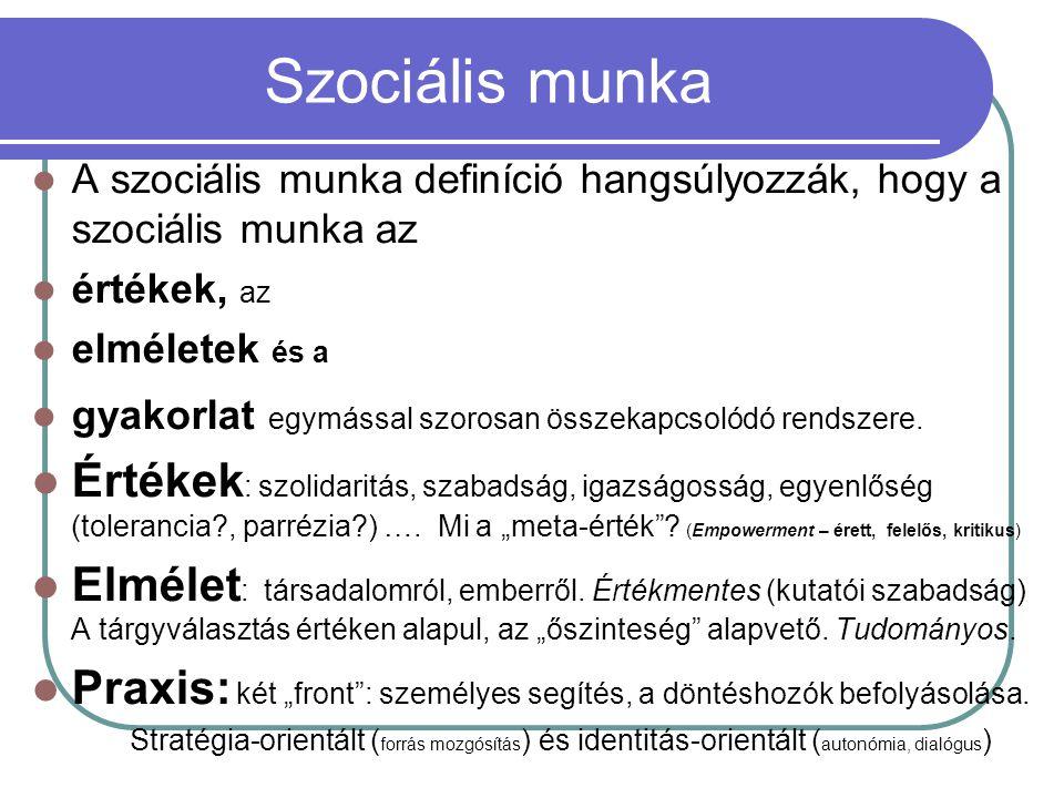 Szociális munka A szociális munka definíció hangsúlyozzák, hogy a szociális munka az. értékek, az.