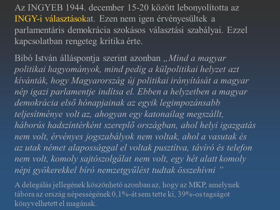 Az INGYEB 1944. december 15-20 között lebonyolította az INGY-i választásokat. Ezen nem igen érvényesültek a parlamentáris demokrácia szokásos választási szabályai. Ezzel kapcsolatban rengeteg kritika érte.