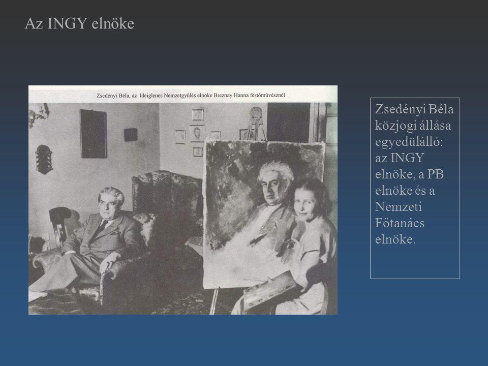 Az INGY elnöke Zsedényi Béla közjogi állása egyedülálló: az INGY elnöke, a PB elnöke és a Nemzeti Főtanács elnöke.