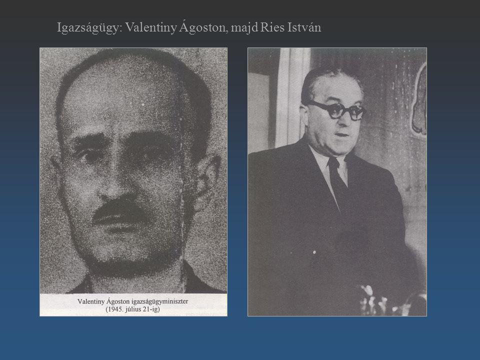 Igazságügy: Valentiny Ágoston, majd Ries István