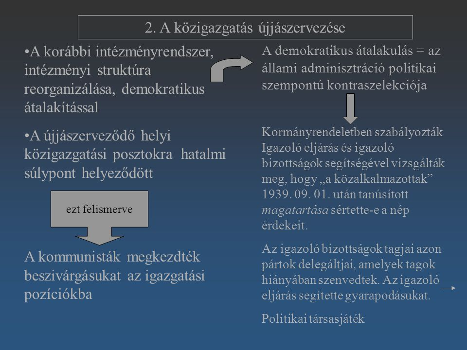 2. A közigazgatás újjászervezése