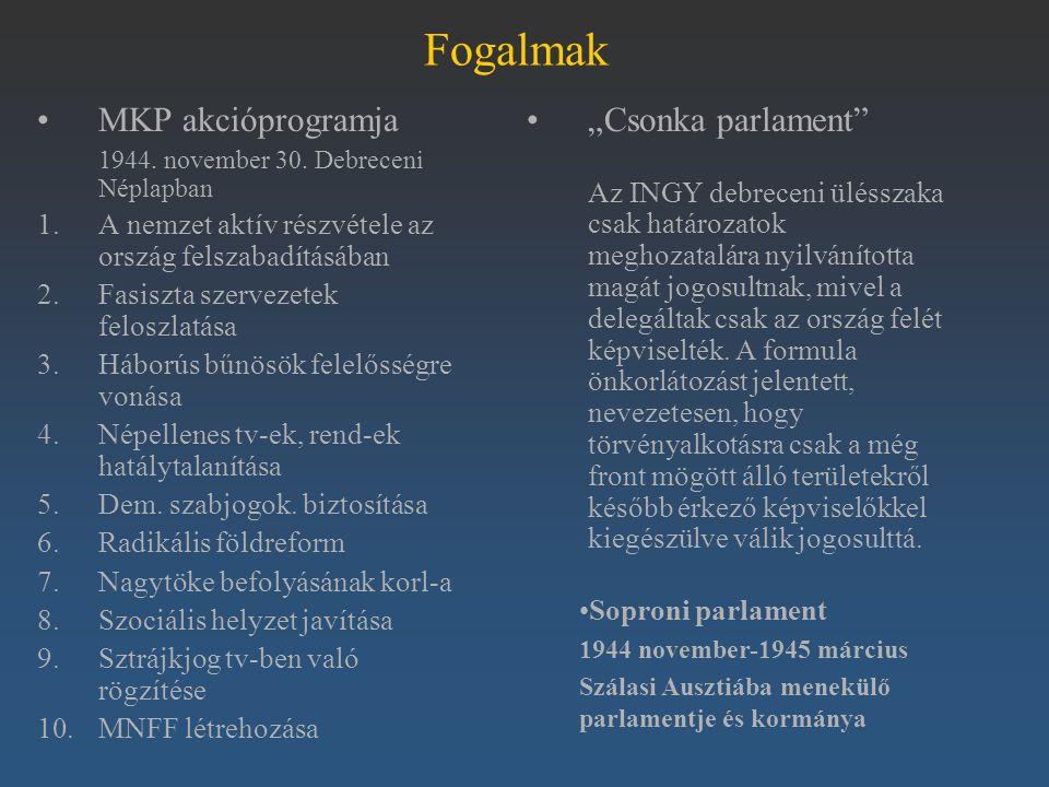 """Fogalmak MKP akcióprogramja """"Csonka parlament"""