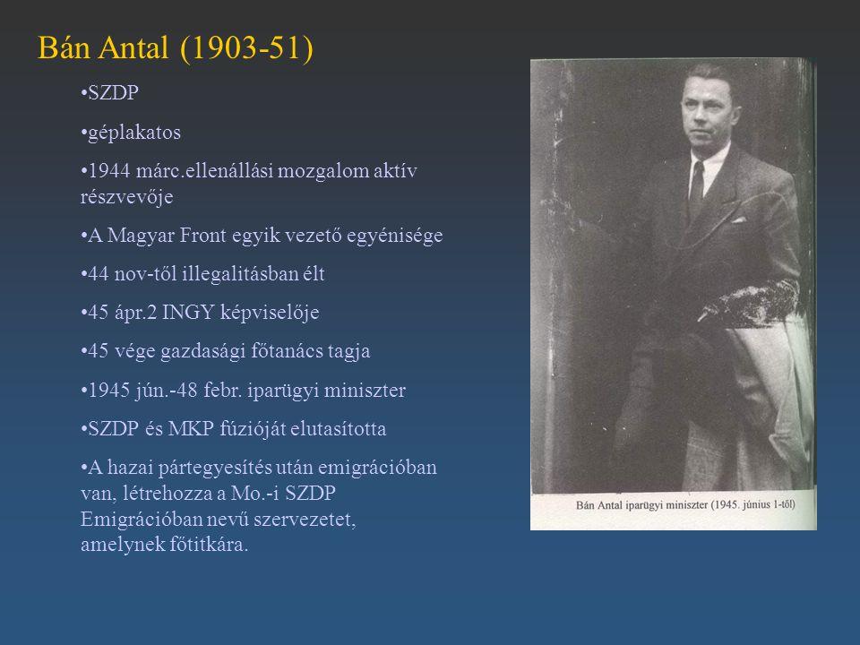 Bán Antal (1903-51) SZDP géplakatos