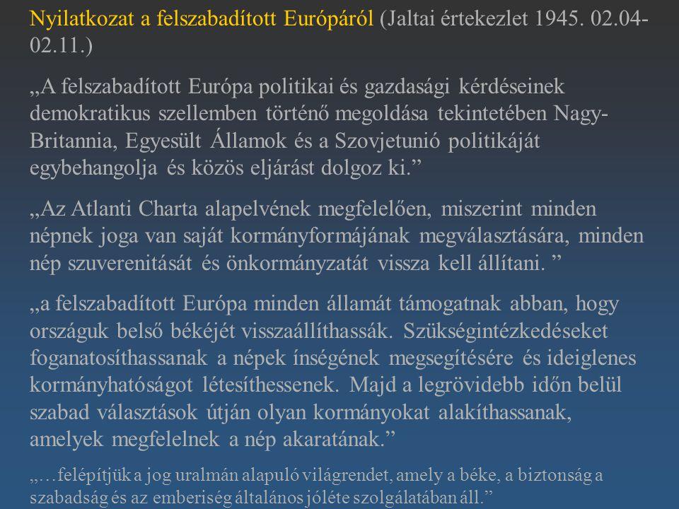 Nyilatkozat a felszabadított Európáról (Jaltai értekezlet 1945. 02