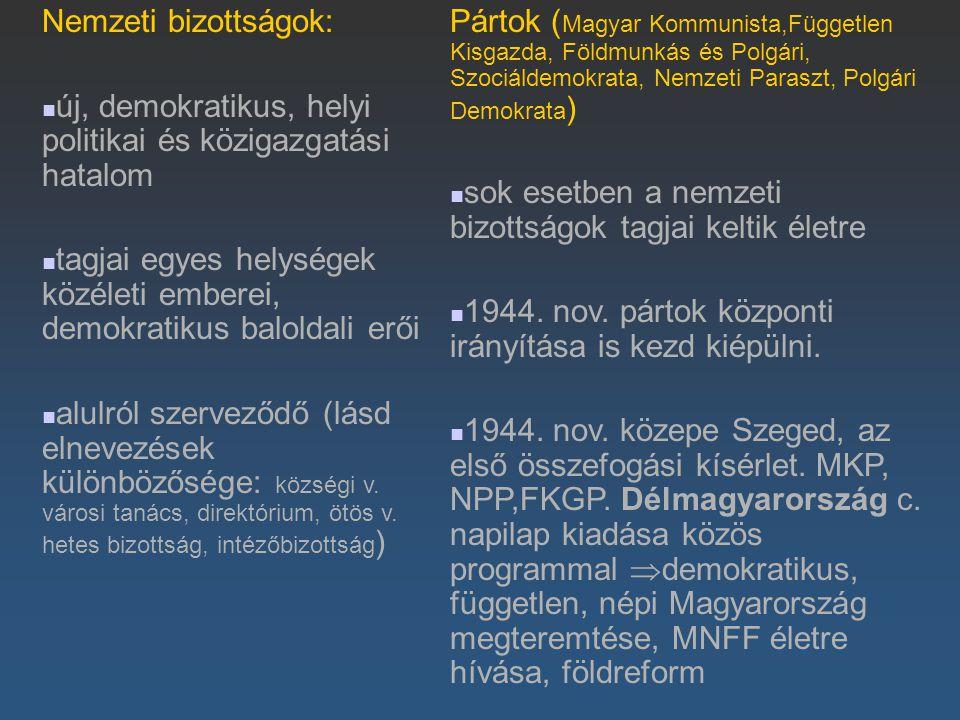 Nemzeti bizottságok: új, demokratikus, helyi politikai és közigazgatási hatalom.