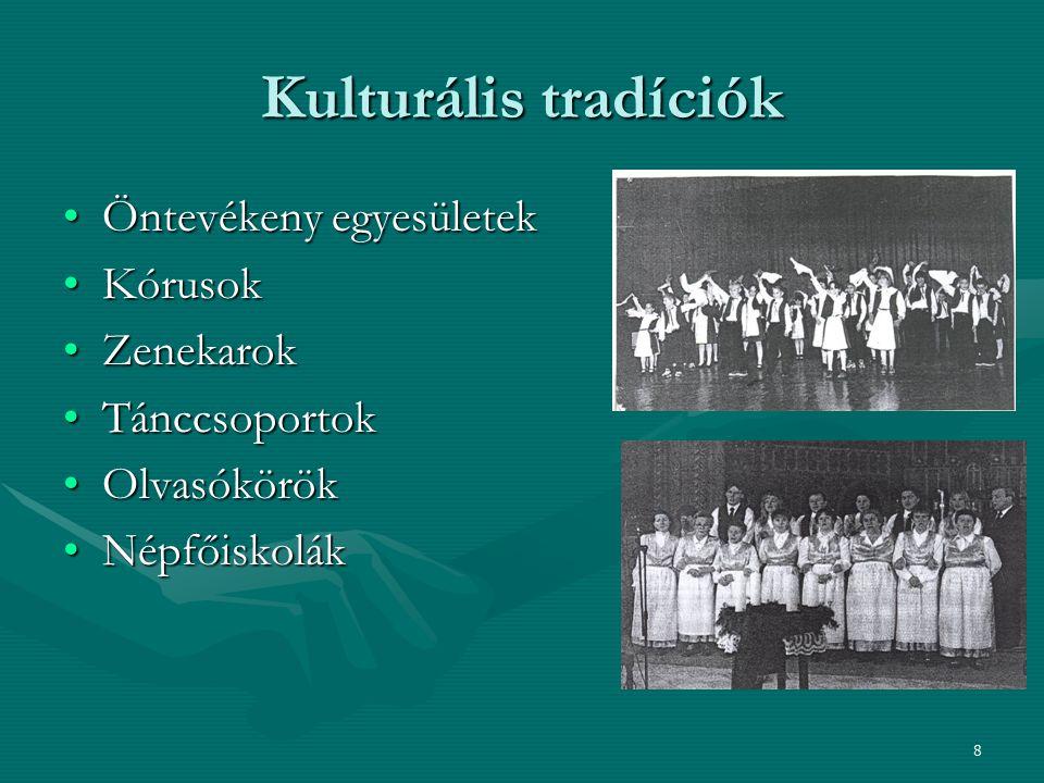 Kulturális tradíciók Öntevékeny egyesületek Kórusok Zenekarok