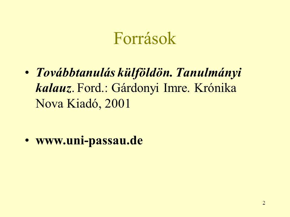 Források Továbbtanulás külföldön. Tanulmányi kalauz. Ford.: Gárdonyi Imre. Krónika Nova Kiadó, 2001.