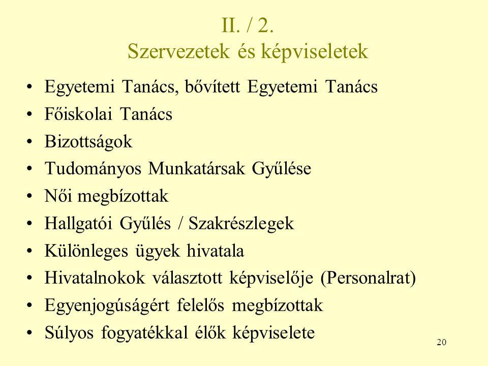II. / 2. Szervezetek és képviseletek