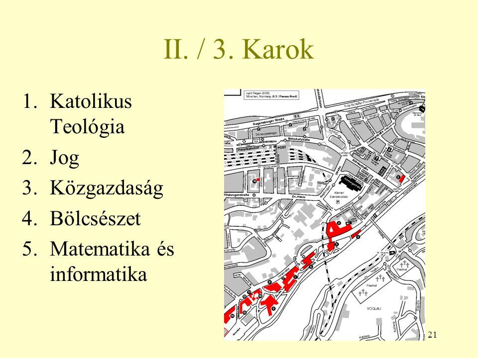 II. / 3. Karok Katolikus Teológia Jog Közgazdaság Bölcsészet