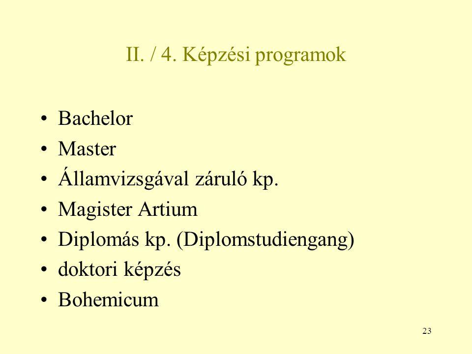 II. / 4. Képzési programok Bachelor. Master. Államvizsgával záruló kp. Magister Artium. Diplomás kp. (Diplomstudiengang)