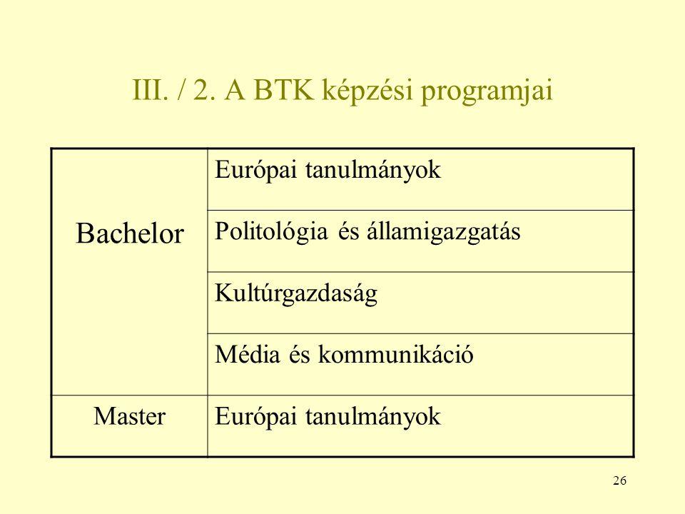 III. / 2. A BTK képzési programjai