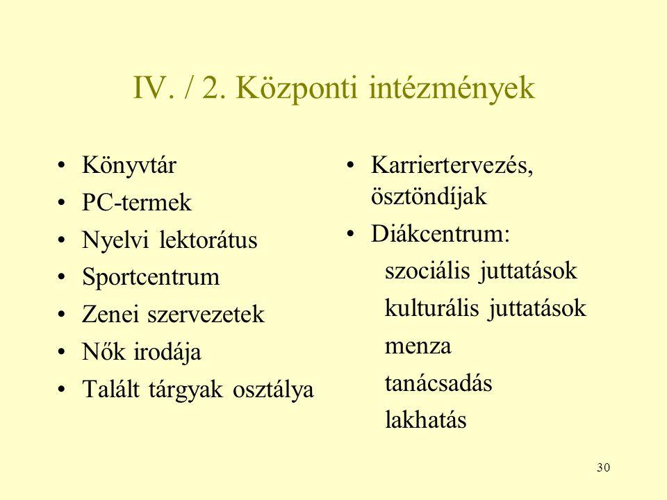 IV. / 2. Központi intézmények