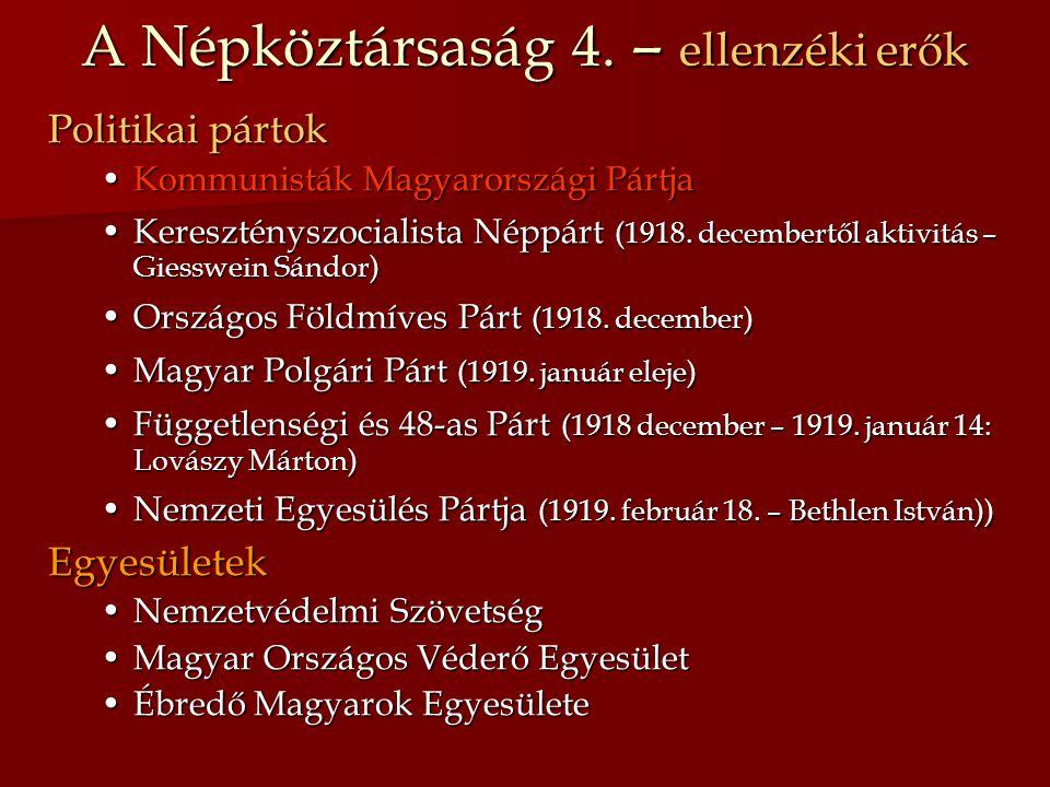 A Népköztársaság 4. – ellenzéki erők