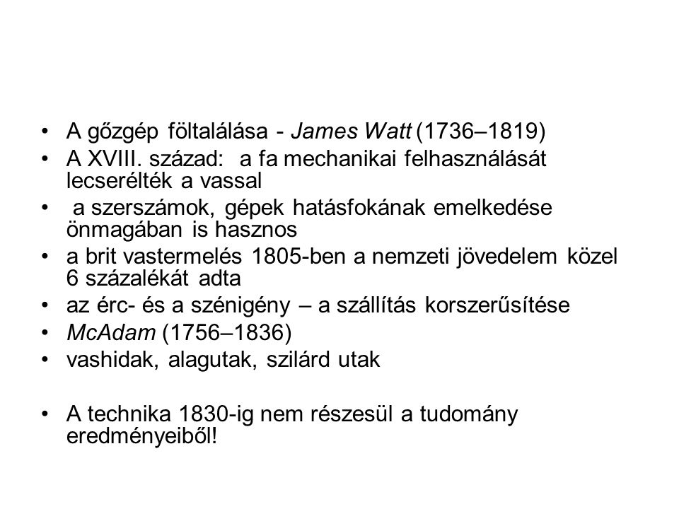 A gőzgép föltalálása - James Watt (1736–1819)